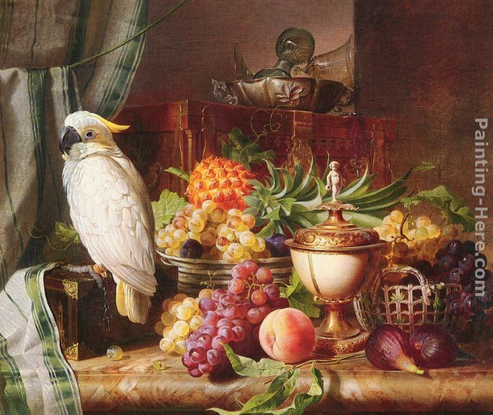 Josef Schuster Still Life With Fruit and a Cockatoo