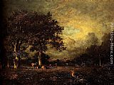 Jules Dupre Landscape with Cows painting
