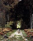 Jules Joseph Augustin Laurens Equestrienne on a Wooded Lane painting