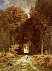 Jules Joseph Augustin Laurens Equestrienne on a Woodland Lane painting