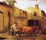 Karel Dujardin A Smith Shoeing an Ox painting