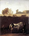 Karel Dujardin Italian Landscape with Herdsman and a Piebald Horse painting