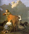 Karel Dujardin Woman Milking a Red Cow painting