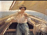 Laureano Barrau A Young Man In A Boat painting