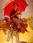 Laureano Barrau The Red Parasol painting