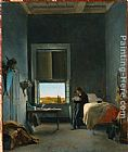 Leon Cogniet The Artist in His Room at the Villa Medici, Rome painting