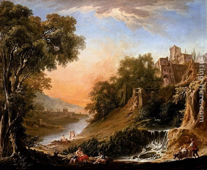 Nicolas-Jacques Juliard Figures Resting On The Banks Of A River, A Waterfall In The Foreground