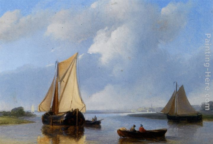 Petrus Jan Schotel Shipping in a Calm