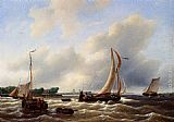Petrus Jan Schotel Sailing Vessels On The Zuiderzee painting