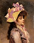 lady in pink Paintings - Portrait Of A Lady In Pink Ribbons