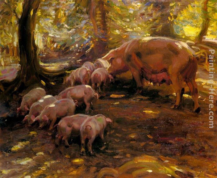Sir Alfred James Munnings Pigs In A Wood, Cornwall