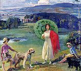 Sir Alfred James Munnings Mrs. Robert Rankin And Her Daughters At Broughton Towers painting