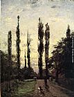 Theodore Clement Steele Evening, Poplars painting