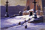 Theodore Clement Steele Monument in the Snow painting