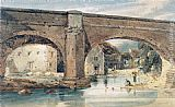Thomas Girtin Wetherby Bridge, Yorkshire, looking through the bridge to the mills painting