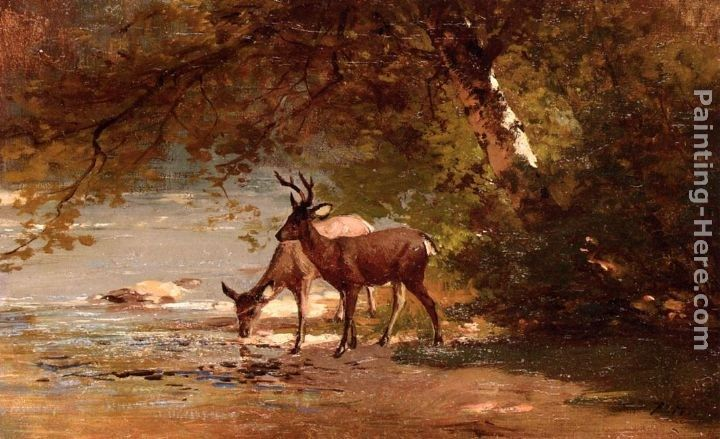 Thomas Hill Deer in a Landscape