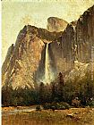 Thomas Hill Bridal Veil Falls - Yosemite Valley painting
