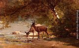 Thomas Hill Deer in a Landscape painting