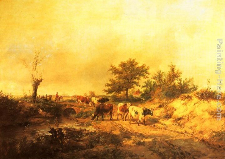 Thomas Sidney Cooper Near Canterbury a Boy on a Donkey driving Cattle along a Road, the Cathedral beyond