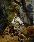 Wijnandus Johannes Josephus Nuyen A Hunter at Rest in the Woods painting