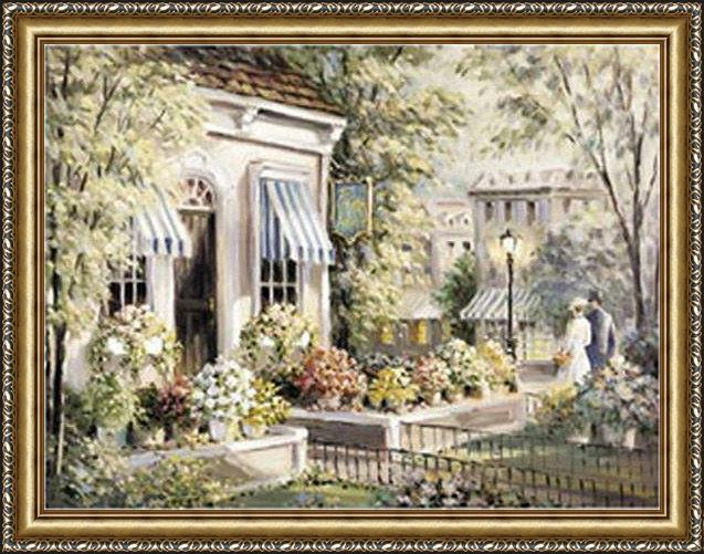 Framed 2011 george bjorkland flower shop painting