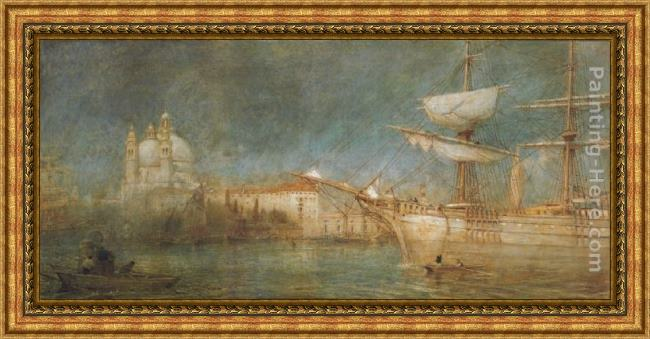 Framed Albert Goodwin the jungle painting