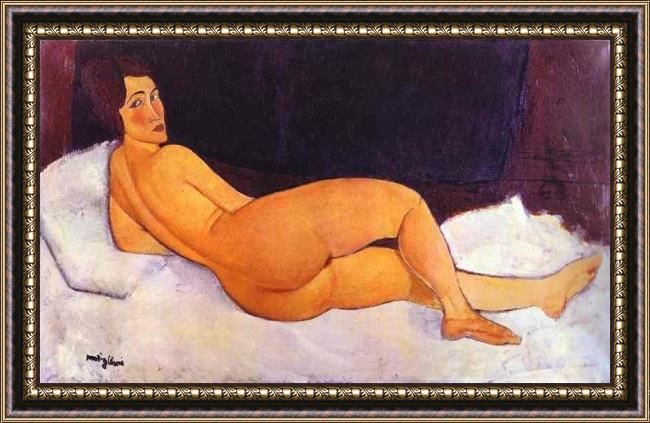 Framed Amedeo Modigliani nude looking over her right shoulder painting