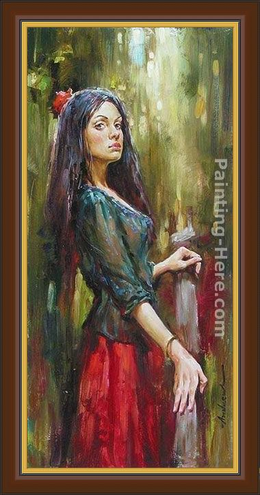 Framed Andrew Atroshenko the wait painting