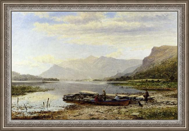 Framed Benjamin Williams Leader derwentwater from ladore morning with skiddaw in the distance painting