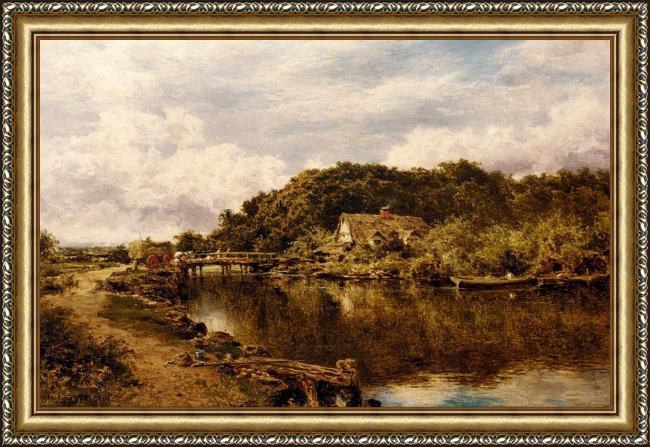 Framed Benjamin Williams Leader on the stour near flatford mill suffolk painting