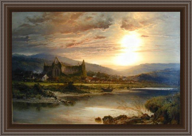 Framed Benjamin Williams Leader tintern abbey painting