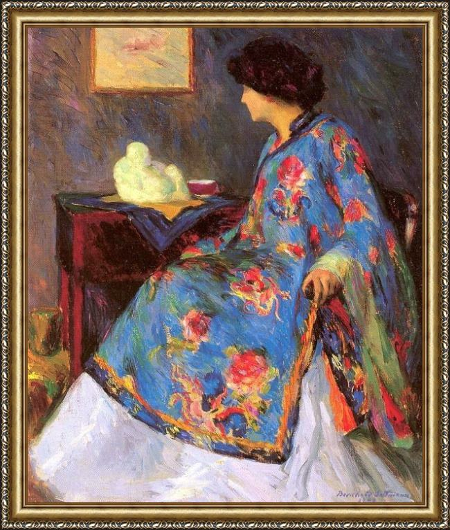 Framed Bernhard Gutmann lady in a chinese silk jacket painting