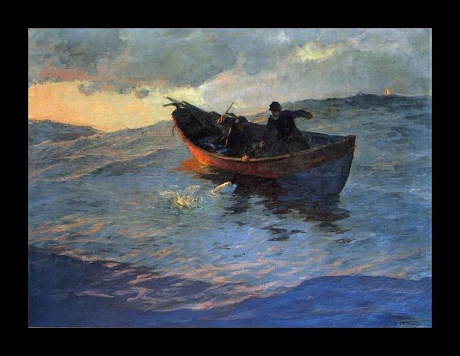 Framed Edward Henry Potthast struggle for the catch painting