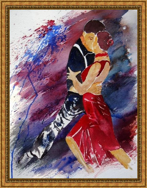 Framed Flamenco Dancer dancing tango painting
