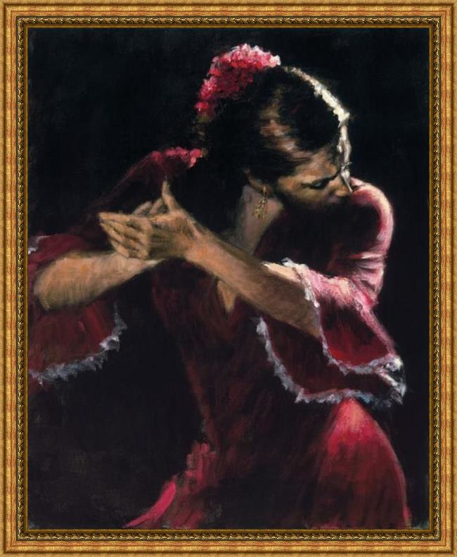 Framed Flamenco Dancer study for flamenco painting