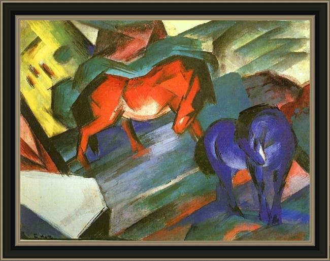 Framed Franz Marc red and blue horse painting