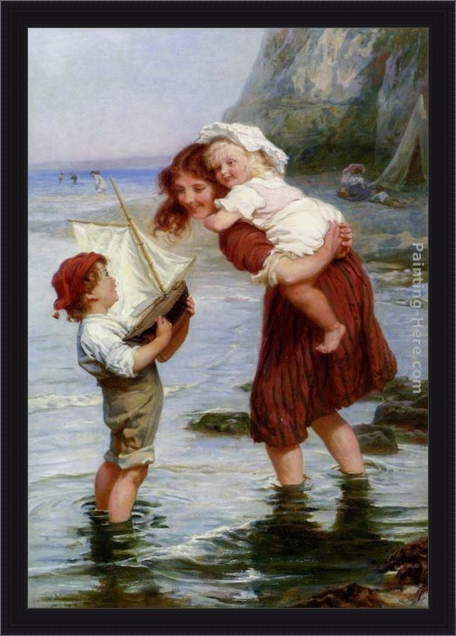 Framed Frederick Morgan at scarborough painting