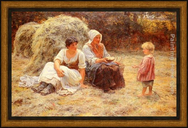 Framed Frederick Morgan midday rest painting