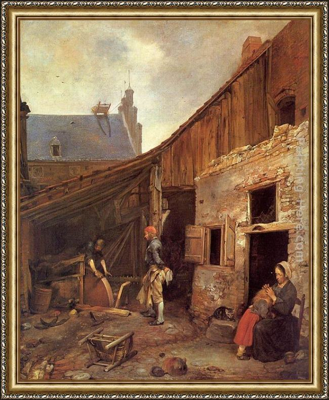 Framed Gerard ter Borch the family of the stone grinder painting
