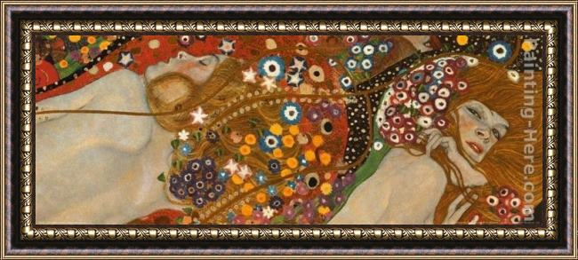Framed Gustav Klimt water serpents detail painting