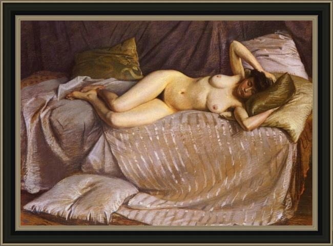 Framed Gustave Caillebotte naked woman lying on a couch painting
