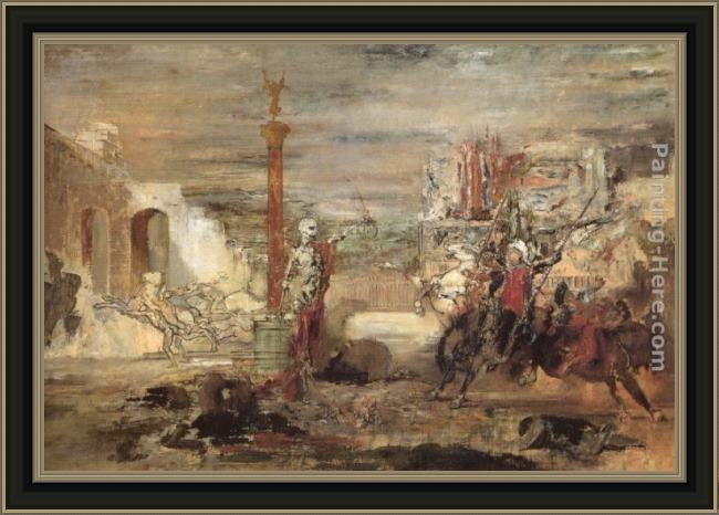 Framed Gustave Moreau death offers crowns to the winner of the tournament painting
