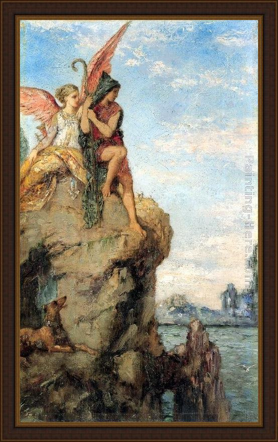 Framed Gustave Moreau hesiod and the muse painting