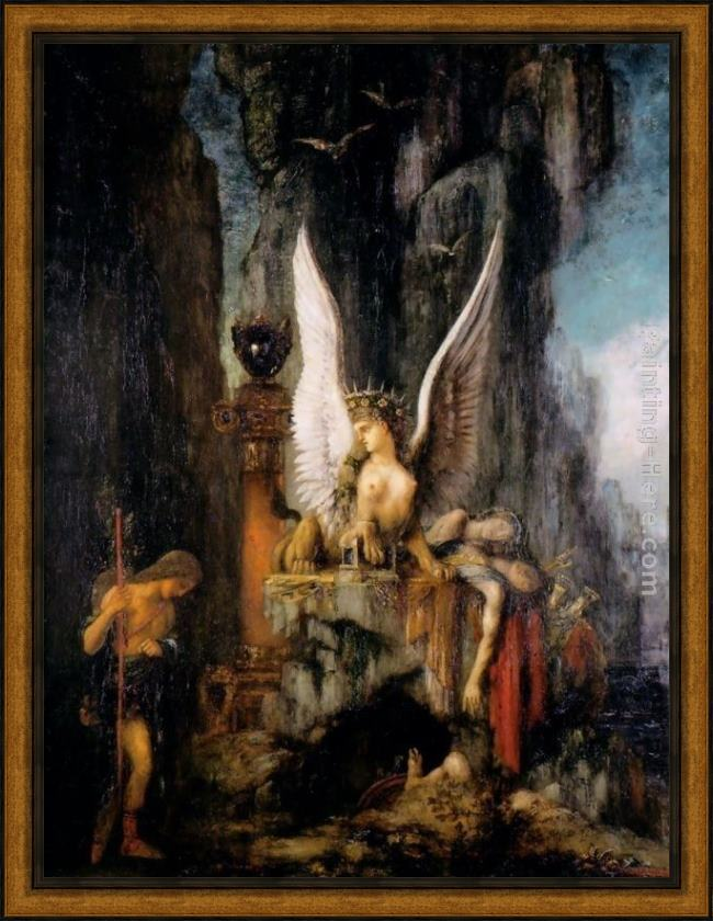 Framed Gustave Moreau oedipus the wayfarer painting