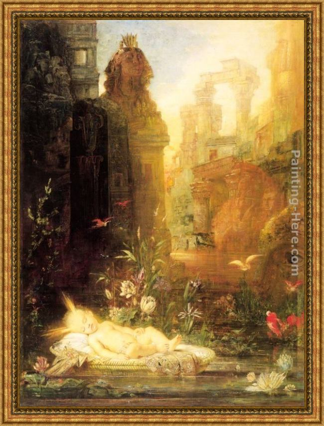 Framed Gustave Moreau young moses painting
