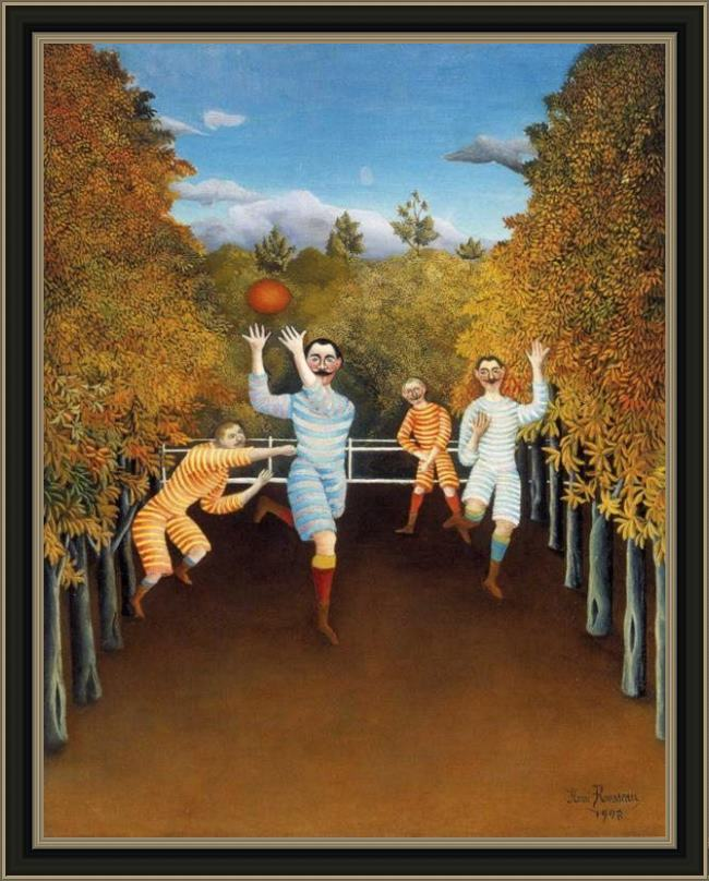 Framed Henri Rousseau the football players painting