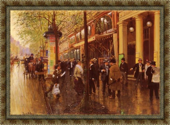 Framed Jean Beraud the great boulevard painting