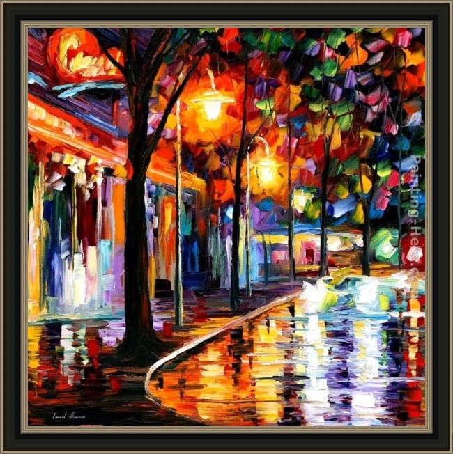 Framed Leonid Afremov night cafe painting