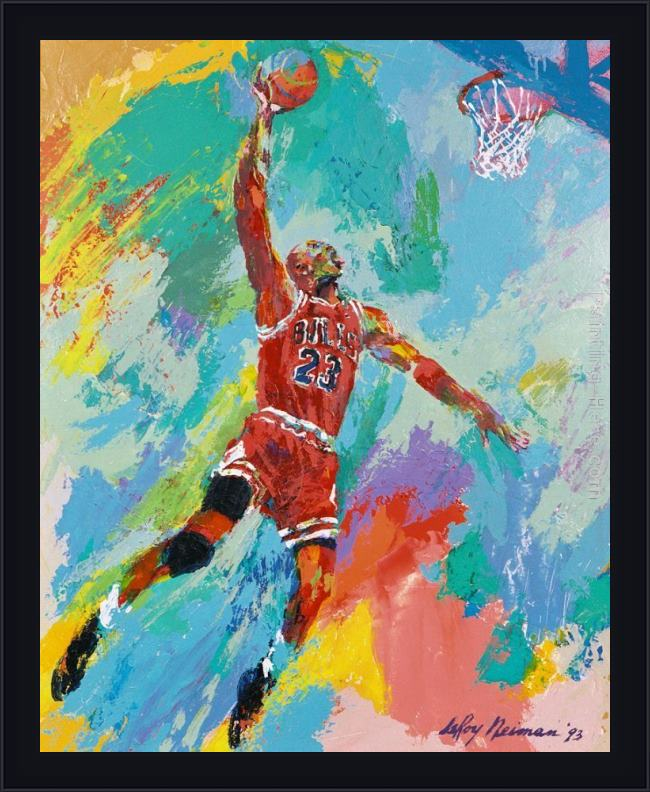 Framed Leroy Neiman michael jordan art painting