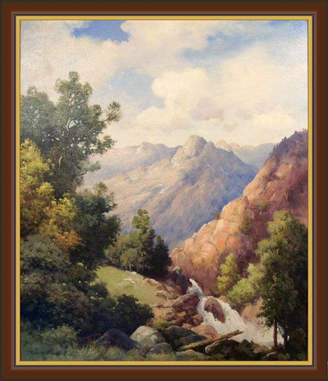 Framed Robert Wood limpia creek, west texas painting
